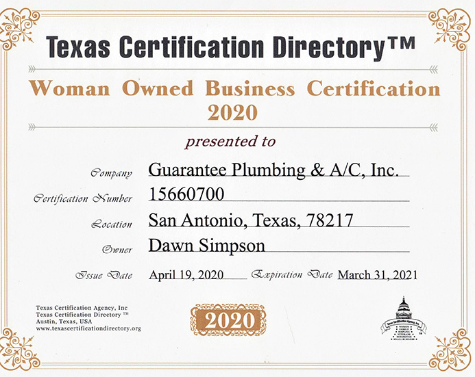 San Antonio Plumbing and Air Conditioning woman owned